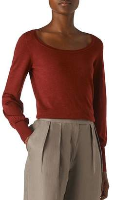 Whistles Fino Merino Wool Scoop-Neck Sweater