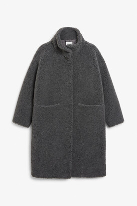 Monki Long teddy coat