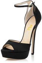 FSJ Women Sexy Faux-Suede Peep Toe Platform Pumps with Ankle Strap Stilettos Heeled Party Shoes Size 5 US