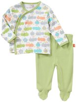 Magnificent Baby Hippo Friends Kimono Footed Set (Baby) - Green-Preemie