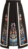 Temperley London Floral-embroidered A-line crepe skirt