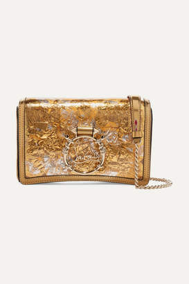 Christian Louboutin Rubylou Metallic Leather And Foil Shoulder Bag - Gold