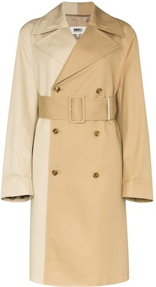 MM6 MAISON MARGIELA Two-Tone Double-Breasted Trench Coat