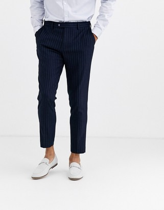 Gianni Feraud Skinny Fit Wool Blend Pinstripe Cropped Suit Pants