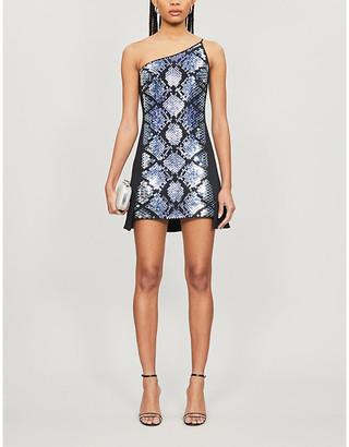 David Koma Snakeskin-effect metallic crepe mini dress