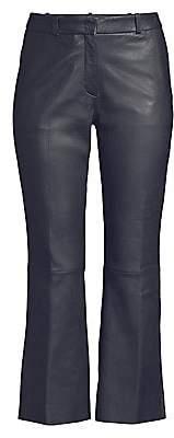 BOSS Women's Lamb Leather Kick Flare Trousers - Size 0