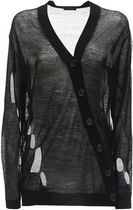Ann Demeulemeester Destroyed Wool Row Knit Cardigan