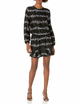 Mud Pie Women's Black Floral Stripe Fina Flounce Dress in Individual Sizes Small