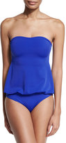 Norma Kamali Strapless Babydoll Mio One-Piece Swimsuit, Cobalt