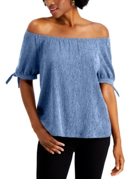 Style&Co. Style & Co Off The Shoulder Tie-Sleeve Top, Created for Macy's