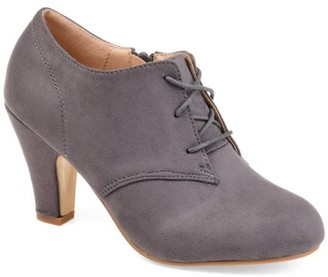 Brinley Co. Women's Vintage Round Toe High Heel Lace-up Faux Suede Booties