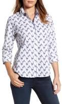 Foxcroft Petite Women's Flamingo Print Wrinkle Free Shirt