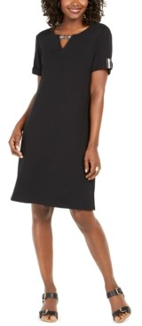 Karen Scott Petite Cotton Split-Neck Dress, Created for Macy's