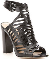 GUESS Essty Leather Caged Ankle Strap Block Heel Dress Sandals