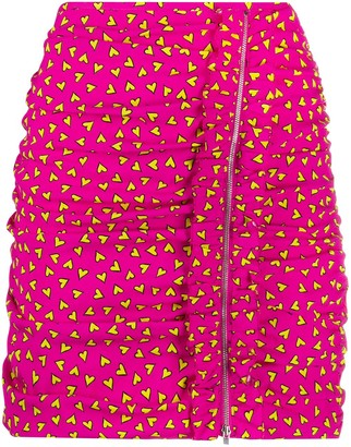 P.A.R.O.S.H. Heart Print Ruched Skirt