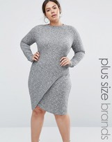 Club L Plus Rib Dress With Asymmetric Skirt And Keyhole Back