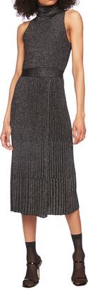 Diane von Furstenberg Lennon Turtleneck Sleeveless Metallic Wool Midi Dress