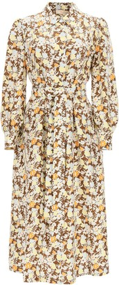 Tory Burch Long Shirt Dress In Floral Silk