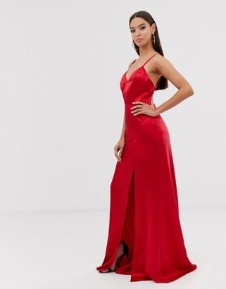 Club L London satin thigh split maxi dress-Red
