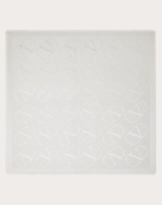 Valentino Garavani Vlogo Shawl With Lurex 140x140 Cm Women Ivory Silk 65%, Polyester 4% OneSize