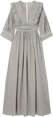 Three Graces London Adeline Pleated Striped Cotton-blend Maxi Dress