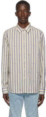Gucci Blue and Off-White Poplin Striped Shirt
