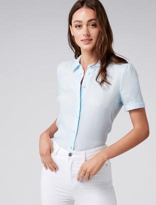Ever New Addison Short Sleeve Linen-Blend Shirt