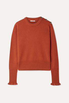 Chloé Button-detailed Cashmere Sweater - Orange