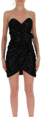 Saint Laurent Strapless Draped Mini Dress