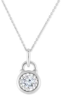 """TruMiracle Diamond Lock 18"""" Pendant Necklace (1/2 ct. t.w.) in 14k White Gold"""