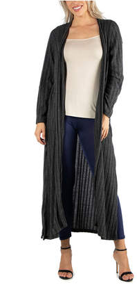24Seven Comfort Apparel Long Open Front Maxi Length Cardigan