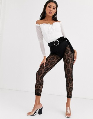 Asos DESIGN lace skinny pants with velvet belt and rhinestone buckle