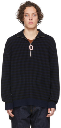 J.W.Anderson Navy and Black Neckband Striped Sweater