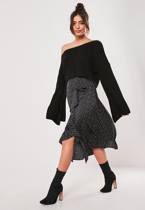 Missguided Tall Black Polka Dot Frill Midi Skirt