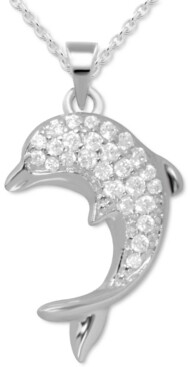 """Kona Bay Crystal Accent Dolphin Pendant Necklace in Fine Silver-Plate, 16"""" + 2"""" extender"""
