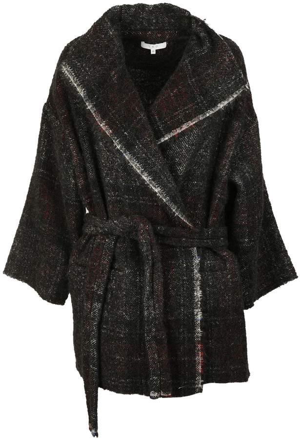 IRO Check Frayed Edge Coat