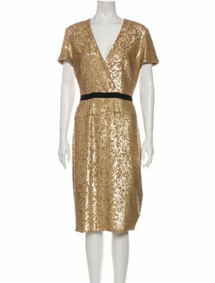 Burberry Plunge Neckline Knee-Length Dress w/ Tags Gold