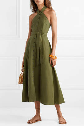 Mara Hoffman Net Sustain Rosemary Tencel And Linen-blend Halterneck Maxi Dress - Army green