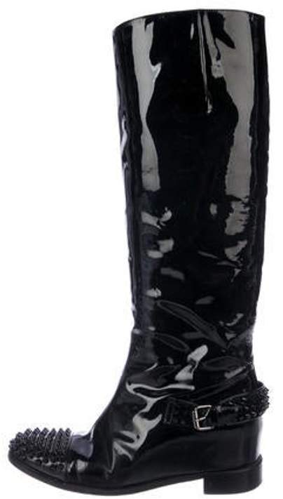 17e03e5f4da Patent Leather Knee-High Boots Black Patent Leather Knee-High Boots