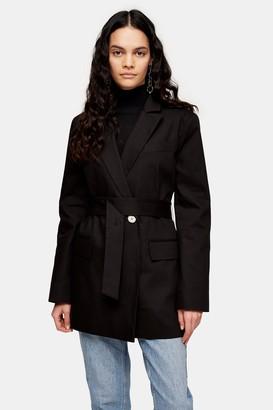 Topshop Womens Black Oversized Belted Blazer - Black