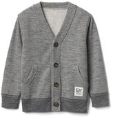 V-neck terry cardigan