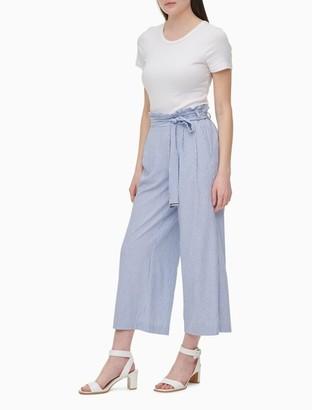 Calvin Klein Striped Paperbag Belted Waist Wide Leg Pants