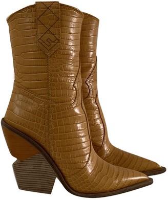 Fendi Cowboy Yellow Crocodile Boots