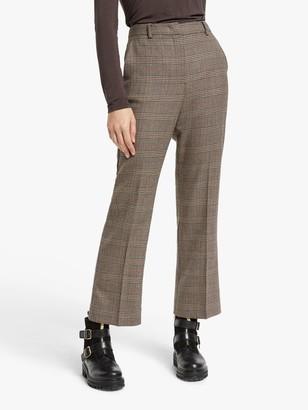 Max Mara Aggetto Slim Wool Check Trousers, Caramel/Multi