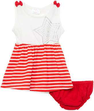 Sweet & Soft Girls' Casual Dresses Red - Red & White Stripe Star A-Line Dress & Bloomers - Infant