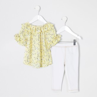 River Island Mini girls Yellow floral frill blouse outfit