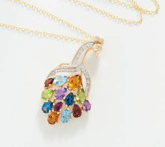 """14K Gold Gemstone Peacock Pendant with 18"""" Chain, 4.10 cttw"""