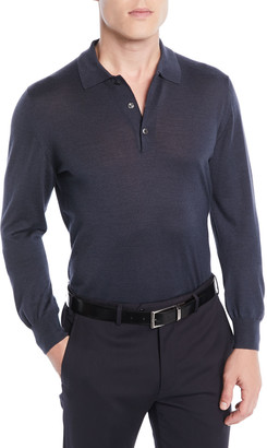 Brioni Men's Wool/Cashmere-Blend Long-Sleeve Polo Shirt