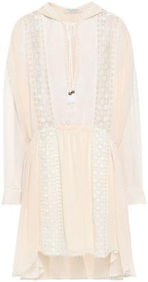 Philosophy di Lorenzo Serafini Crochet-trimmed Georgette Hooded Mini Dress