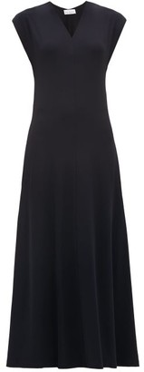 Raey V-neck Cap-sleeve Crepe-jersey Dress - Navy